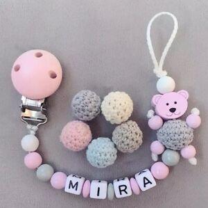 Nuckelkette Schnullerkette mit Namen ♥ Mädchen ♥  Teddybär ★ Rosa Grau