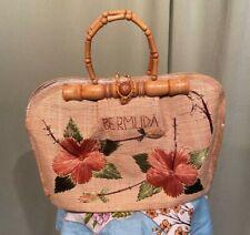 Sweet Vintage 50s 60s Straw Floral Bermuda Satchel Handbag Purse w Wood Handle