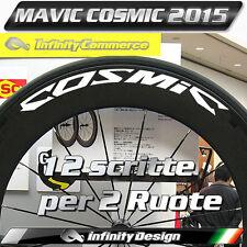 12 Decals Adesivi COSMIC ruote bici kit completo per 2 cerchi bianco bike MAVIC