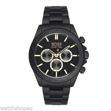 NEW HUGO BOSS HB 1513278 MENS BLACK CHRONOGRAPH WATCH - 2 YEAR WARRANTY