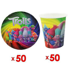 50pcs Paper Plate And 50pcs Cup Trolls Theme Birthday Party Tableware Set