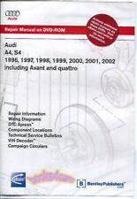 AUDI A4 S4 SHOP MANUAL SERVICE REPAIR DVD BOOK 1996 2002