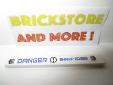 Lego 1x Tile decorated 1x8  'DANGER SHARP EDGES' Pattern sticker 7700 4162pb011