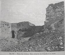SICILIA TRAPANI ERICE MONTE SAN GIULIANO MURA CICLOPICHE - stampa antica 1893