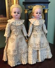 """Rare """"TWIN"""" WAX over COMPOSITION DOLLS in ORIGINAL CLOTHES c1880 15"""" TALL ALICE"""