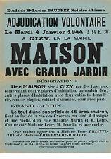 AISNE (02) / GIZY / VENTE D'UNE MAISON AVEC GRAND JARDIN EN 1944