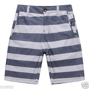 Men Board Shorts Swim Beach wear Trunk Spandex Pockets Blue Grey Stripes