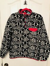 Patagonia Synchilla Ikat Big Fish Snap T Pullover Fleece Women's Size L Pink