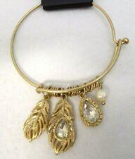 Nicole's Boutique Gold Tone Peacock Feathers Charm Bracelet Bangle NWT