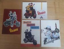 4x vintage scooter advert postcards. Lambretta and Vespa. Mod,Scooter boys