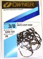 OWNER MUTU LIGHT WIRE CIRCLE HOOK SUPER NEEDLE #5314-131 SIZE 3/0 QTY 28