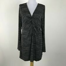 Soft Surroundings Gray Space Dye Twist Front Kate Tunic Top Stretch Size Medium