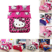 New Hello Kitty Bedding Sets 4pc kids duvet cover bed sheet twin full queen size