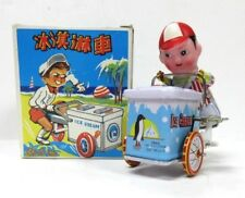 Vintage Tin Toy MS405 Ice Cream Man With Cart Metal Wind Up