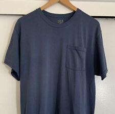 New listing Vintage Fruit Of The Loom Blank Plain Thin Blue Pocket Tee Shirt 50/50 ( L /xL
