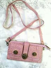 Naomi Levi Pink Embossed Leather Crossbody Wallet Clutch