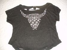 WET SEAL CHARCOAL GRAY SLASH BACK STUD DETAIL COW SKULL TRIBAL GRAPHIC TOP - M