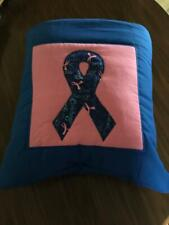 New Handmade Blue Breast Cancer Ribbon Quillow (Pillow w/ 6ft long quilt inside)