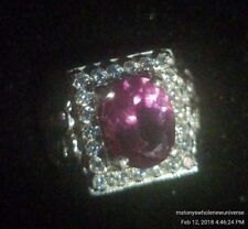 genuine 10 x 8 mm oval AAA pink topaz and white cubic zirconia 925 Silver...