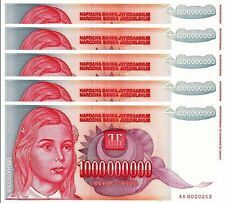 YUGOSLAVIA 1000000000 1,000,000,000 1 BILLION D 1993 UNC 5 PCS CONSECUTIVE P.126