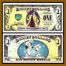 """Disney 1 Dollar, 2013 """"A"""" Series, 101 Dalmatians, Cruella """"Error"""" Serial A010001"""