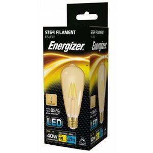 Energizer Dimmable 5W = 40W LED Filament ST64 Antique Light Bulb Edison Screw