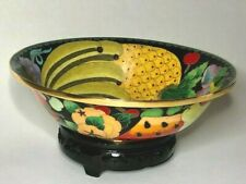 """Vintage Fruit Cloisonne 8"""" Bowl with Gold Trim with Wood Stand"""