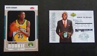 2) 2007-08 KEVIN DURANT Rookie Card RC LOT Fleer GLOSSY Upper Deck DRAFT NOTICES