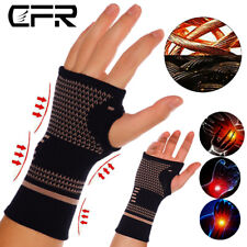 Copper Wrist Support Brace Compression Sleeve Arthritis Fit Carpal Tunnel Hand M