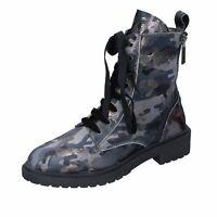 scarpe donna FORNARINA stivaletti grigio velluto BM135