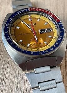 VINTAGE Seiko Pogue Pepsi Vintage Watch Chronograph Yellow 6139-6002 Gents watch