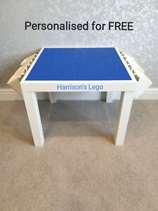 LEGO Table All BLUE Base Plate Organised Storage Play Set Up Personalised