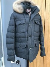 Men's HACKETT LONDON Grey ARCTIC Parka DOWN FILL Jacket REAL FUR Coat XXL 46/48'