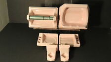 6 PC PINK BATHROOM SET Porcelain Ceramic VINTAGE Soap Holders Toilet Paper Towel