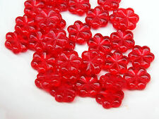 Czech Flat Flower Strawberry Red Pressed Glass Bead 13 Mm Pack Of 9