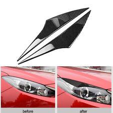 2Pcs For Mazda3 Axela 2014-2016 Carbon Fiber Headlight Eyelid Eyebrow Cover Trim