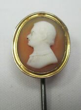 Antique Victorian 9ct Gold Hand Carved Shell Cameo Stick Pin