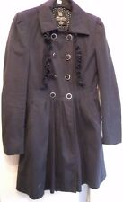 Navy blue lined gothic ruffles mac dress coat long sleeved with pockets Size 8