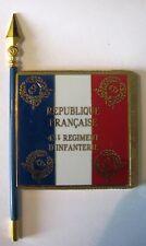 43  Régiment d'Infanterie RI Drapeau émaillé + Le nom des batailles au dos