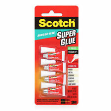 New 3M Scotch Single Use Super Glue Gel 2g 4 pack No Run Precision Tip