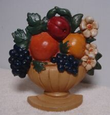 Antique Vtg Cast Iron Doorstop Fruit Bowl w apple flowers orange grapes pear urn