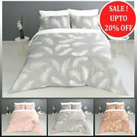 New Feather Print Duvet Cover With Pillowcases Bedding Set Single Double King UK