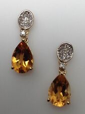 New 10K Yellow Gold Pear Shape Citrine and Diamond Pave Drop Dangle Earrings