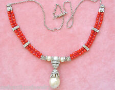 ART DECO STYLE 3+ctw DIAMOND 12mm SOUTH SEA PEARL CORAL BEADS PLATINUM NECKLACE