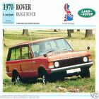 RANGE ROVER à nos jours 1970 CAR GREAT BRITAIN GRANDE BRETAGNE CARTE CARD FICHE