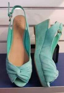 Size 39 Corelli Ladies green suede Wedge Shoes Worn Once - Like New!