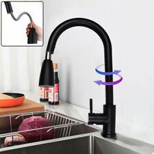 Matt Black Stainless Steel Kitchen Sink Faucet Pull Out Sprayer Swivel Mixer Tap