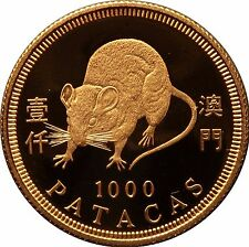 1996 Macau Gold Coin 1000 Patacas year of the Rat