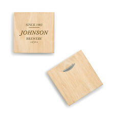 Personalized Brewery Co. Natural Wood Coasters Groomsman Wedding Party Gift