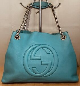 Authentic Gucci Sea Foam Soho Leather Chain Large Tote Shoulder Bag